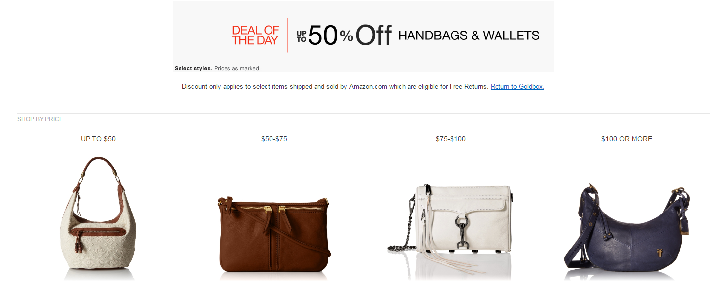 Amazon Gold Box- up to 50% off Handbags & Wallets by Kate