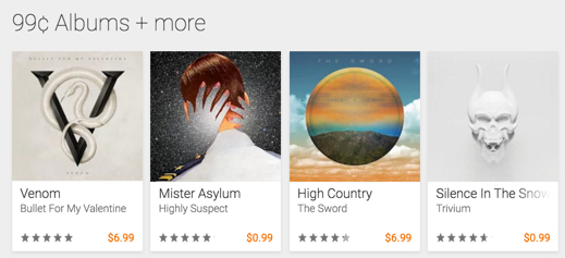 99 cent Google Play Albums
