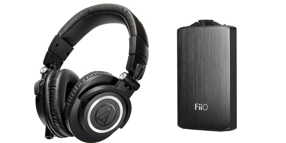 Audio-Technica ATH-M50x studio headphones and a Fiio A3 portable headphone amp-3