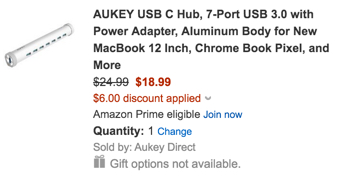 Aukey USB-C Hub, 7-Port USB 3.0 with Power Adapter