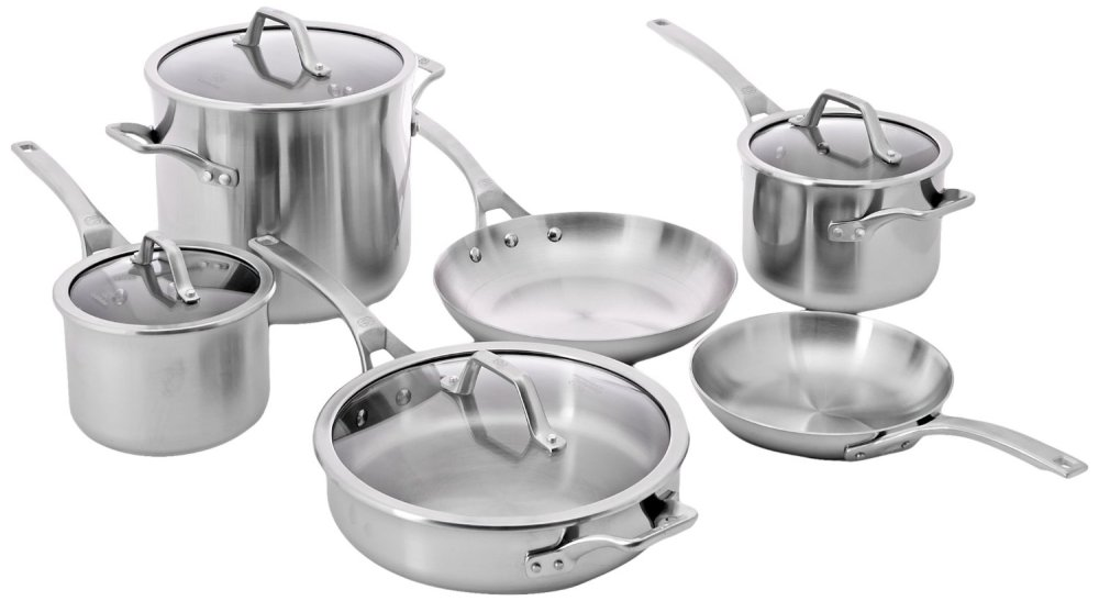 Calphalon 10-Piece AccuCore Stainless Steel Cookware Set