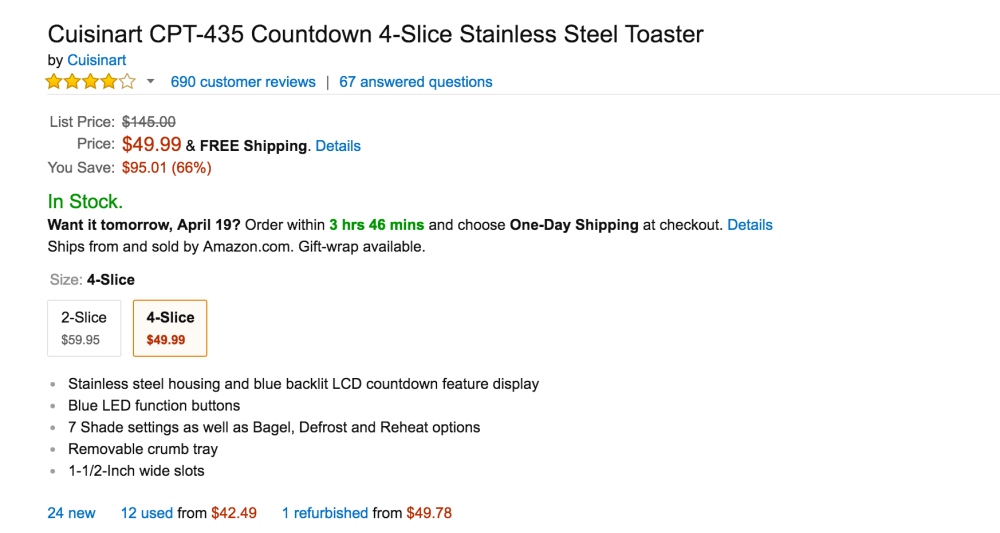 Cuisinart Countdown 4-Slice Stainless Steel Toaster (CPT-435)-2