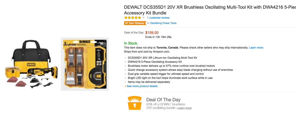 DEWALT 20V XR Brushless Oscillating Multi-Tool Kit (DCS355D1)-2