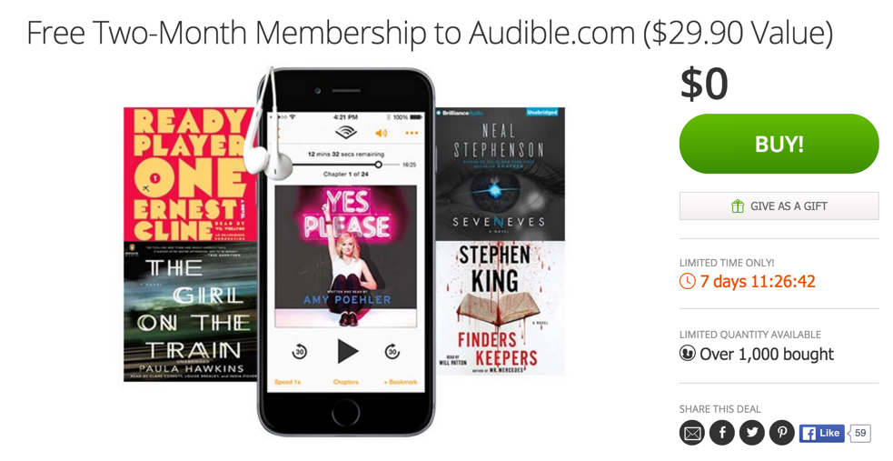 Groupon for audible
