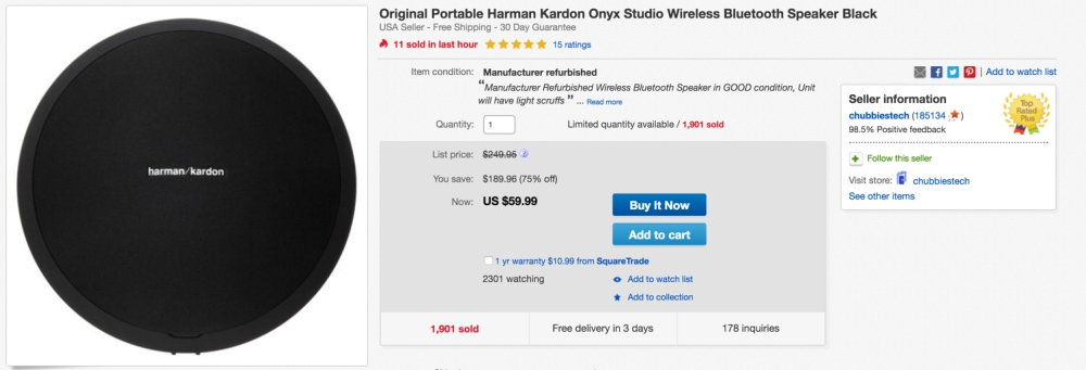 Harman Kardon Onyx Studio Wireless Bluetooth Speaker (Refurb)