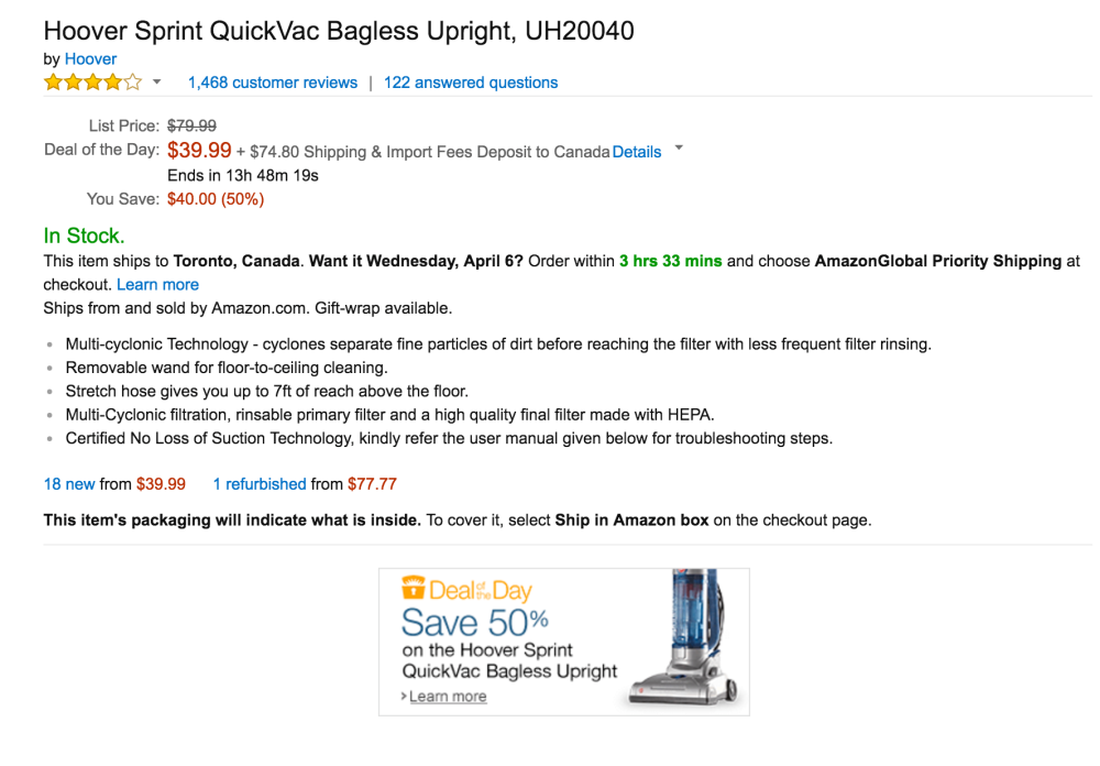 Hoover Sprint QuickVac Bagless Upright (UH20040)-2