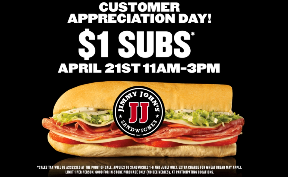 Jimmy Johns customer appreciation day