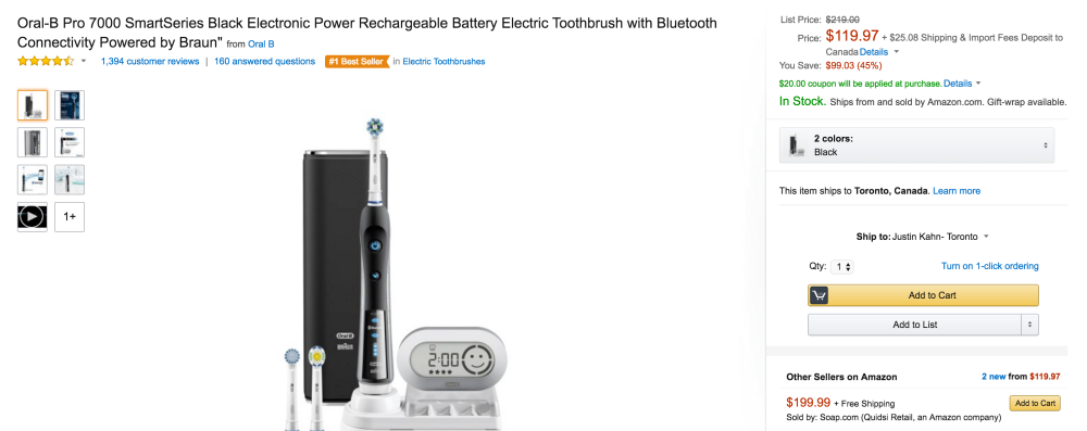 Oral-B Black 7000 SmartSeries Electric Rechargeable Toothbrush with Bluetooth-6
