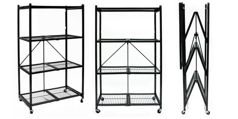 Origami General Purpose 4-Shelf Steel Collapsible Storage Rack with Wheels-2