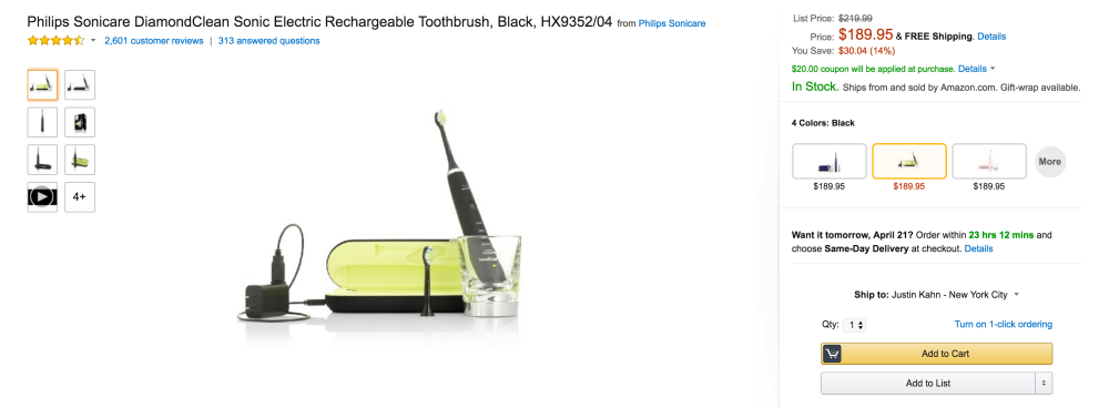Philips Sonicare DiamondClean Sonic Electric Rechargeable Toothbrush (HX9352-4