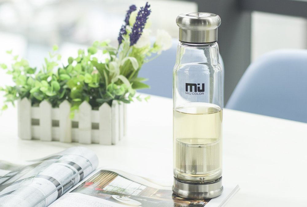 Portable Handmade Crystal Glass Water Bottle w: Nylon Sleeve-1