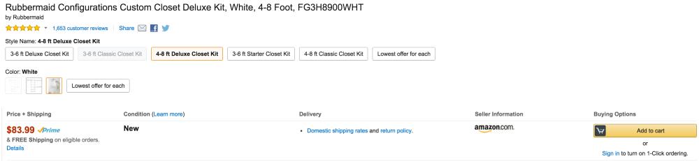 Rubbermaid Configurations Custom Closet Deluxe Kit (4-8 Foot, FG3H8900WHT)-4