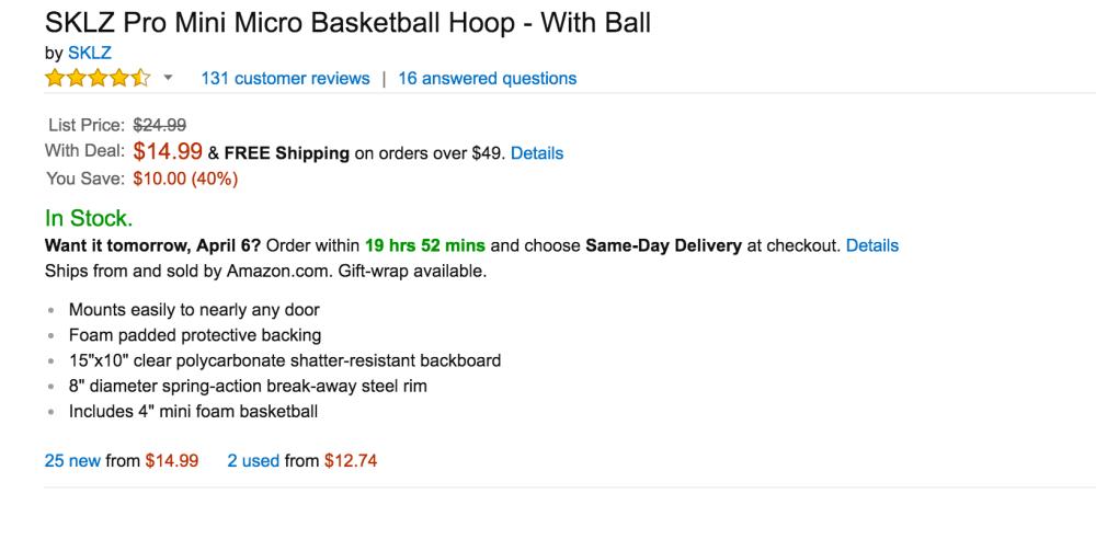 SKLZ Pro Mini Micro Basketball Hoop with Ball-3