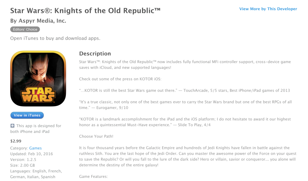Star Wars Knights of the Old Republic-iOS-01