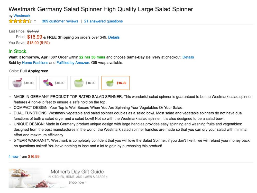 Westmark Germany Large Salad Spinner-2