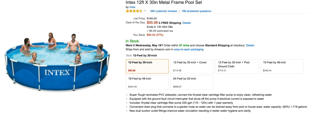 Amazon Gold Box - Intex 12-ft. x 30-in. Metal Frame Pool Set $96 ...