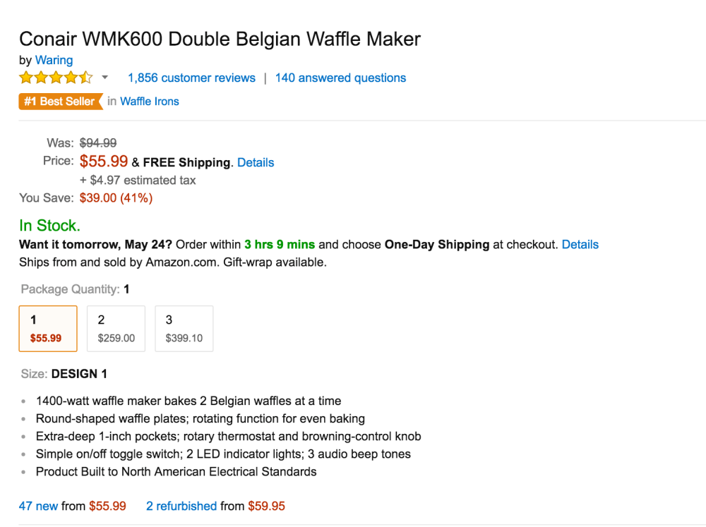 Conair Double Belgian Waffle Maker (WMK600)-sale-03