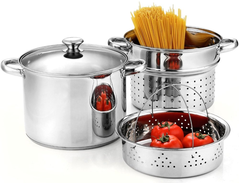 Cook N Home Stainless Steel 4-Piece Pasta Cooker Steamer