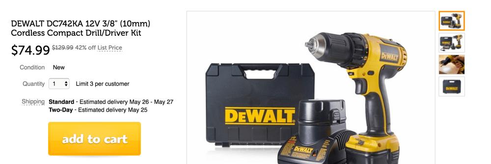 DEWALT 12V 3:8%22 (10mm) Cordless Compact Drill:Driver Kit (DC742KA)-5
