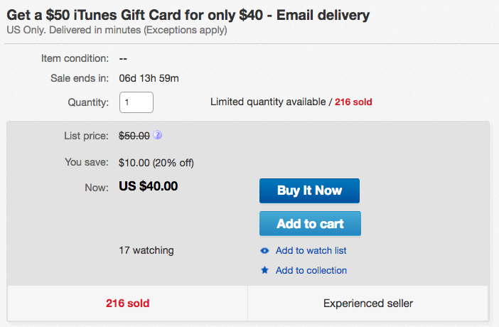 ebay iTunes gift card sale price