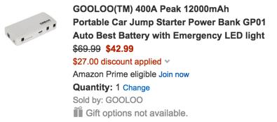 GOOLOO(TM) 400A Peak 12000mAh Portable Car Jump Starter Power Bank GP01 Auto Best Battery with Emergency LED light