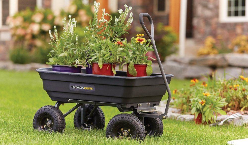 Gorilla Carts Poly Garden Dump Cart with Steel Frame