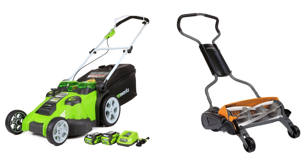 greenworks-fiskar-mower-deals