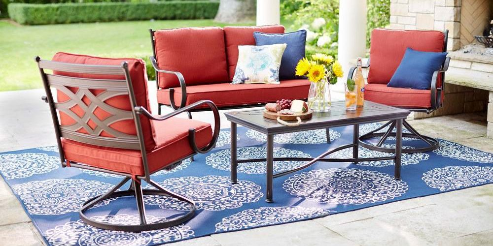 hampton bay navy medallion outdoor rug