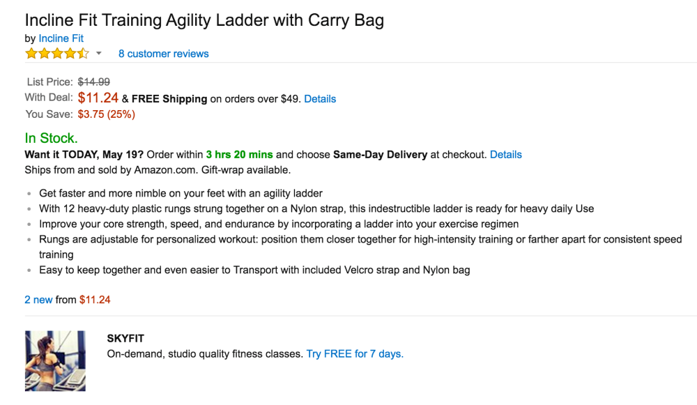 Incline Fit Training Agility Ladder with Carry Bag-2