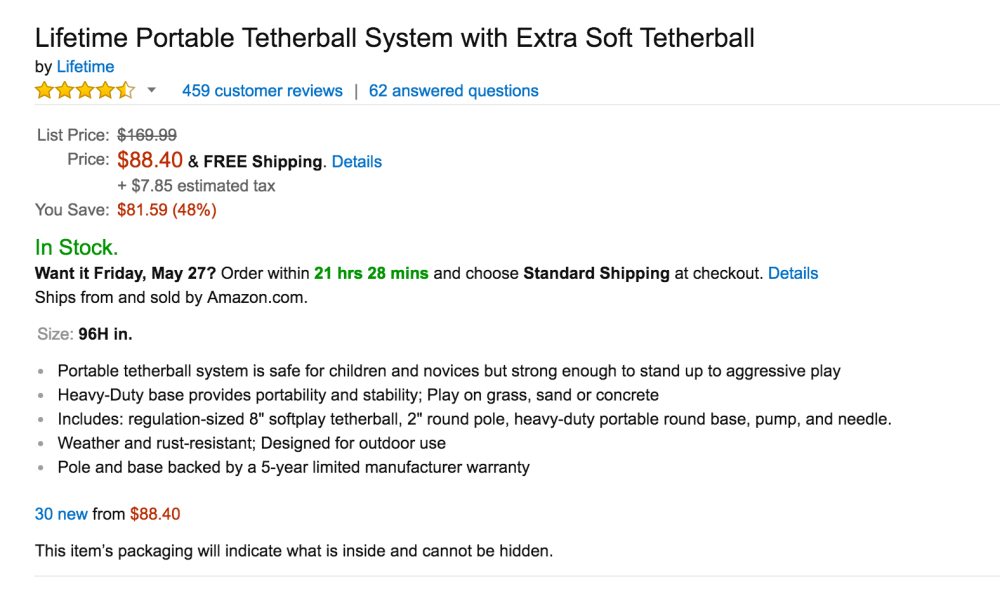 Lifetime Portable Tetherball System With Extra Soft 05