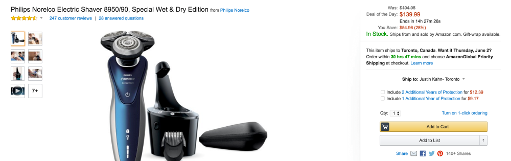 Philips Norelco Electric Special Wet & Dry Edition Shaver (8950:90)-2