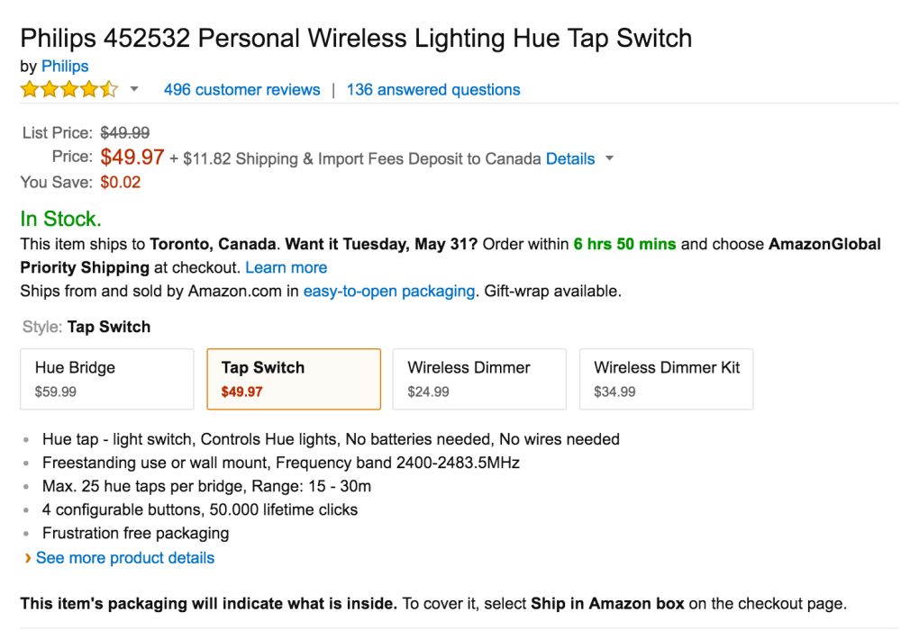 Philips Personal Wireless Lighting Hue Tap Switch-2