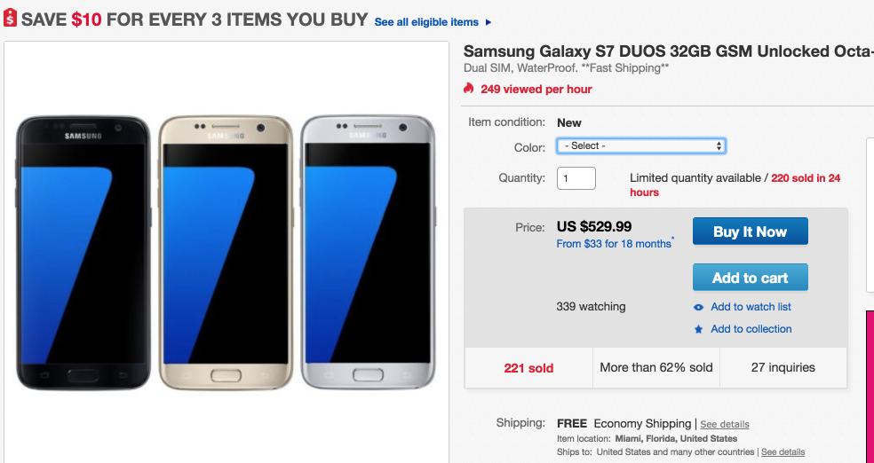Samsung Galaxy S7 Duos 32GB GSM Unlocked OCTA Core 4G LTE Smartphone New   eBay 2016-05-06 11-45-29