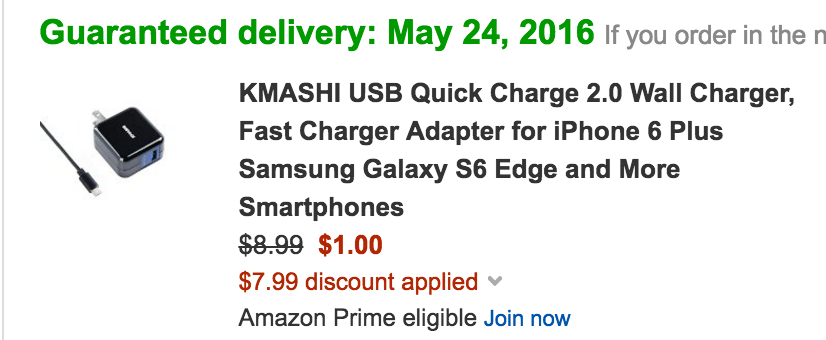 KMASHI Qualcomm Quick Charge 2.0 USB Wall Charger w/cable: $1 Prime Shipped