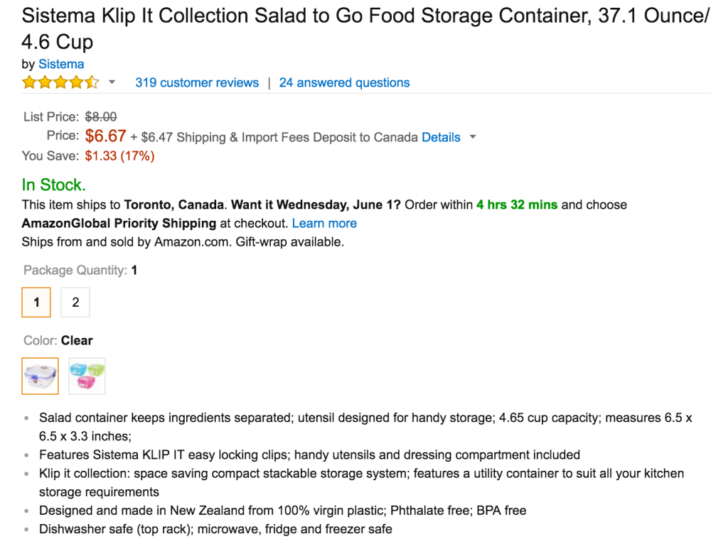 Sistema Klip It Collection Salad to Go Food Storage Container-3