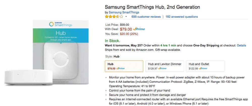 smartthings hub sale