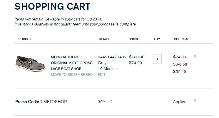Sperry shopping cart