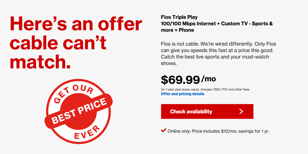Verizon FiOS Triple Play: 100/100Mb data, Custom TV and