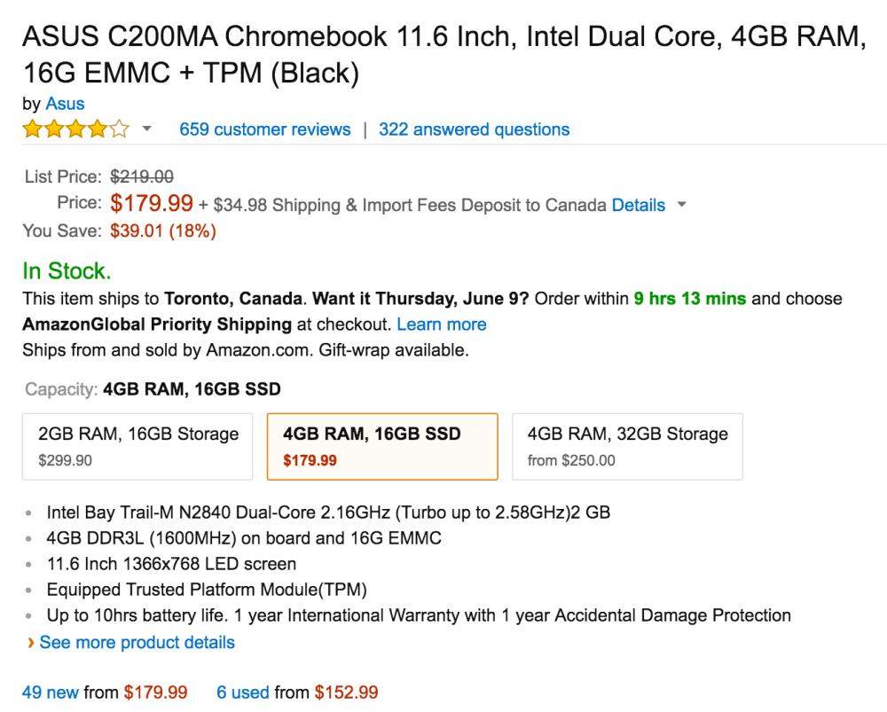 11.6 Inch Intel Dual Core ASUS Chromebook with 4GB RAM and16G SSD (C200MA)-3
