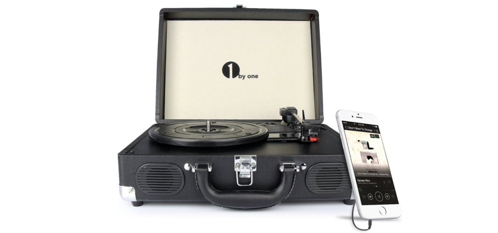1byone Belt-Drive 3-Speed Portable Stereo Turntable