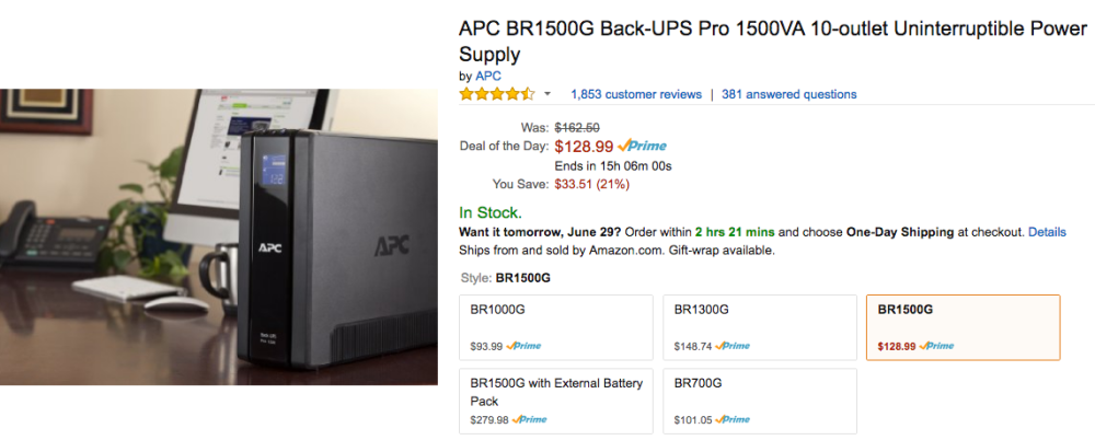 APC BR1500G Back-UPS Pro amazon