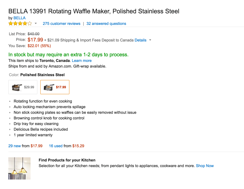 BELLA Rotating Waffle Maker in Polished Stainless Steel (13991)-2