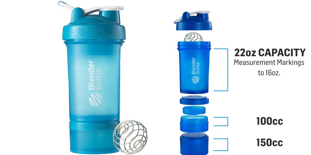 BlenderBottle ProStak System 22-Ounce Bottle and Twist n' Lock Storage