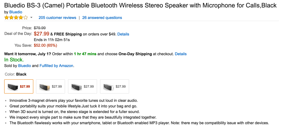 Bluedio BS-3 (Camel) Portable Bluetooth Wireless Stereo Speaker with Microphone
