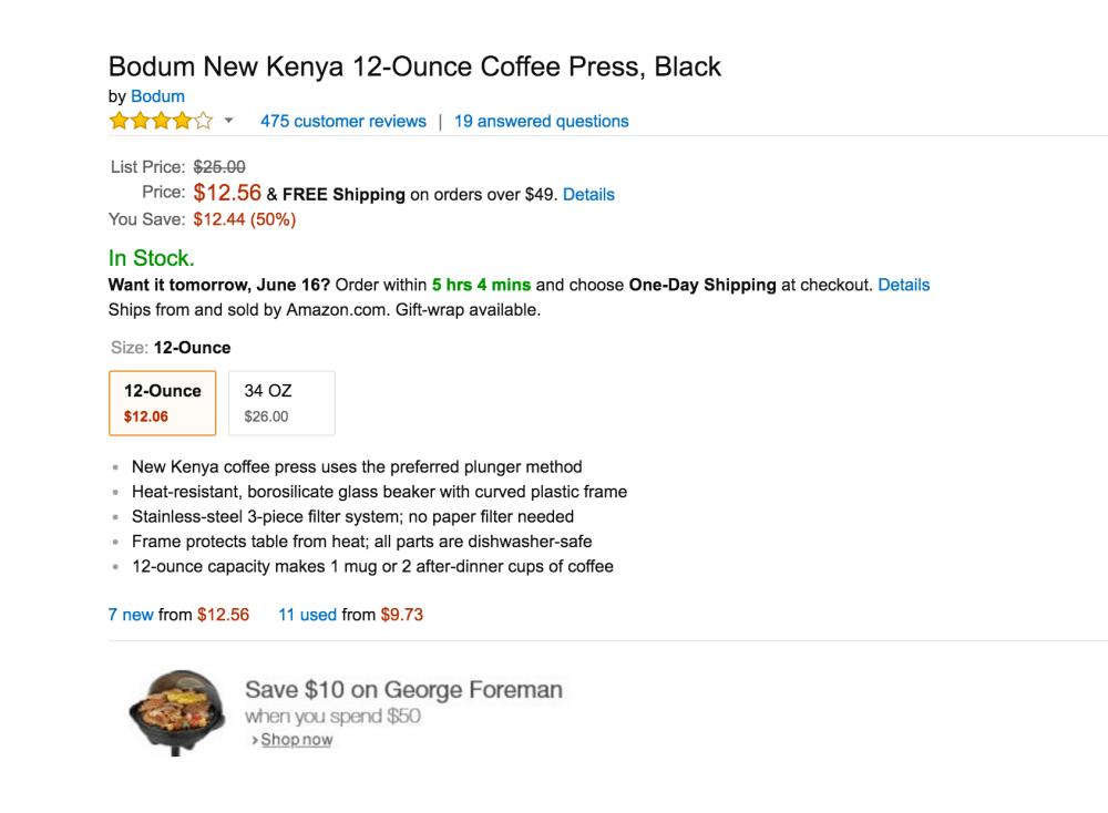 Bodum New Kenya 12-Ounce Coffee Press in Black-3