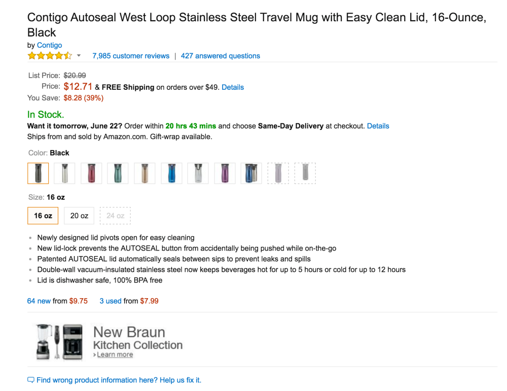 Contigo's Autoseal West Loop Stainless Steel Travel Mug with Easy Clean Lid-4