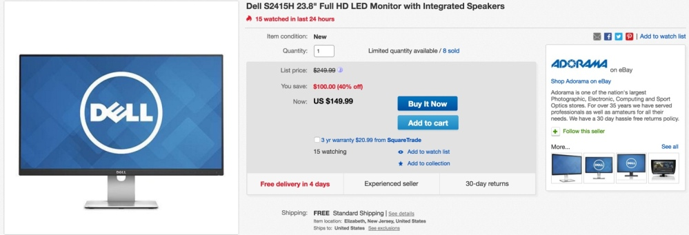 Dell S2415H 23.8%22 Full HD LED Monitor with Integrated Speakers