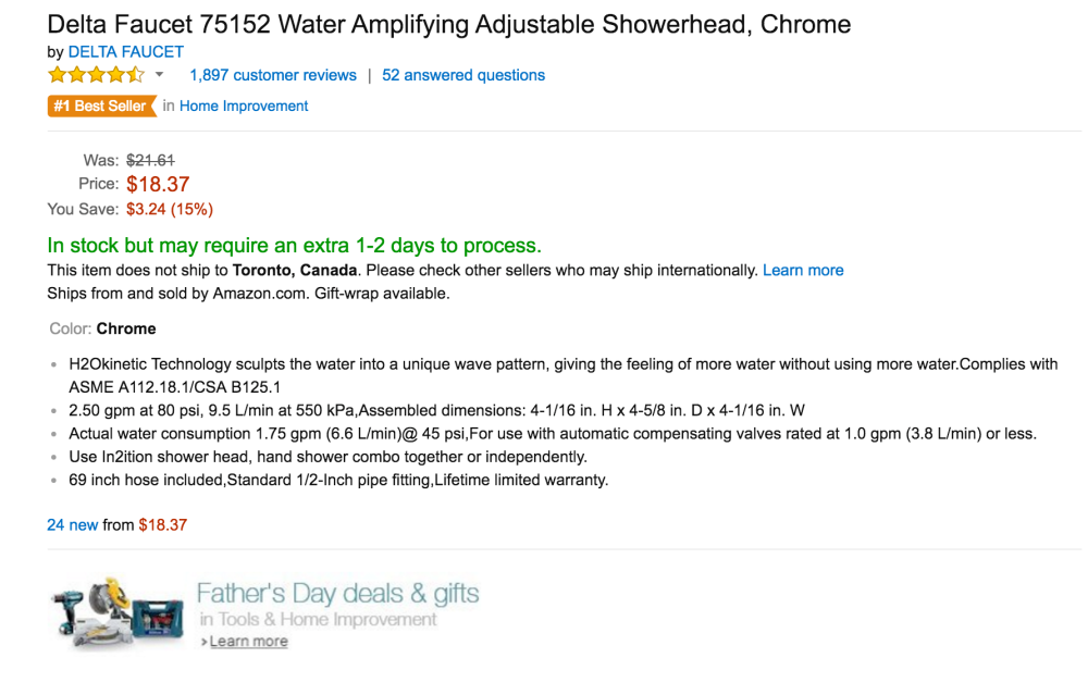 Delta Faucet Water Amplifying Adjustable Showerhead in Chrome (75152-3