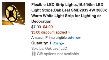 Flexible LED Strip Lights,16.4ft:5m LED Light Strips,Oak Leaf SMD2835 4W 3000k Warm White Light Strip for Lighting or Decoration