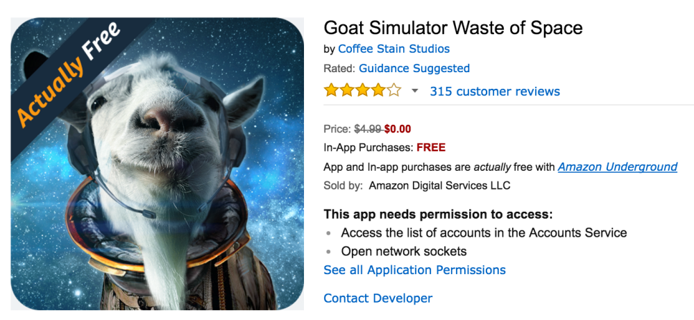 Goat Simulator Waste of Space is now available for free on